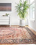 Loloi ll Layla Collection Printed Vintage Persian Area Rug 2'0' x 5'0' Red/Navy