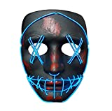 SATUMIKO Halloween Purge Mask, Led Light Up Masks Glowing Scary Mask with EL Wire for Adults Kids Costume Cosplay (Blue-Purge 1)