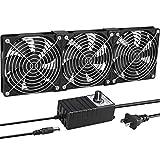 GDSTIME Big Airflow 3 x 120mm Fans DC 12V Powered Fan with AC 110V - 240V Speed Control, Cabinet Chassis Cooling Fan, Server Workstation Cooling Fan