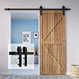 Homlux 6ft Heavy Duty Sturdy Sliding Barn Door Hardware Kit Single Door - Smoothly and Quietly - Simple and Easy to Install - Fit 1 3/8-1 3/4' Thickness Door Panel(Black)(J Shape Hangers)