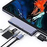 Hub USB C pour iPad Pro 2018, Adaptateur HDMI 6 en 1 USB C à 4K avec USB3.0, lecteur de carte SD / TF, prise casque 3,5 mm, Chargement du PD, Convertisseur HDMI Compatible avec l'iPad Pro 2018 et plus