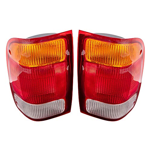 Brock Replacement Driver and Passenger Taillights Tail Lamps Compatible with 1998-1999 Ranger Pickup Truck F87Z13405BA F87Z13404BA
