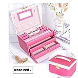 MJJEsports 6 Colores Tres Capas Pu Joyería De Cuero Caja De Embalaje Con Espejo Organizador De Almacenamiento Maletín - Rosa Roja