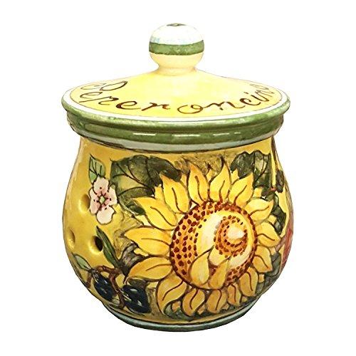 CERAMICHE D'ARTE PARRINI- Ceramica italiana artistica, barattolo peperoncino decorazione girasole, dipinto a mano, made in ITALY Toscana