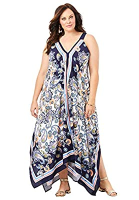 PLUS SIZING: Size 14 / 16 will fit Plus sizes 14 to 16 Gorgeous prints, a handkerchief hem and an easy, breezy swing silhouette make this flowy number the perfect choice for elegant style. So unique, it's sure to get compliments. This is a customer f...