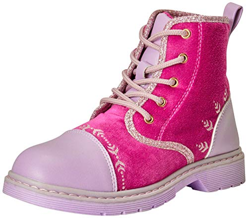 Disney Girls Frozen 2 Lace-Up Combat Boots Anna and Elsa, Size 11 Little Kid, Red