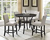 Roundhill Furniture Collection Biony Espresso Wood Counter Height Dining Set with Tan Fabric Nailhead Stools,