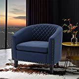 SSLine Modern Upholstered Accent Armchair Soft Linen Fabric Barrel Club Chairs for Living Room Comfy Single Sofa Office Guest Arm Chair with Solid Wood Legs and Nailhead for Bedroom - Navy