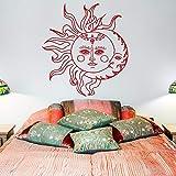 Tianpengyuanshuai Sol y Luna calcomanías de Vinilo para Pared-símbolos Decorativos étnicos calcomanías de Pared Dormitorio Estilo Boho Arte de Ropa de Cama 80x72cm
