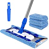 MR.SIGA Professional Microfiber Mop for Hardwood, Laminate, Tile Floor Cleaning, Stainless Steel Telescopic Handle - 3 Reusable Flat Mop Refills and 1 Dirt Removal Scrubber Included