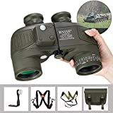 BNISE 10x50 Binoculars for Adults Hunting Rangefinder Built-in Compass with Harness Strap, Military Professional Waterproof Long Distance Telescope BAK4 Porro
