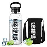 Large Water Bottle for Adults, 50oz Reusable Glass Water Bottle with Neoprene Sleeve & Lock Flip Top Lid