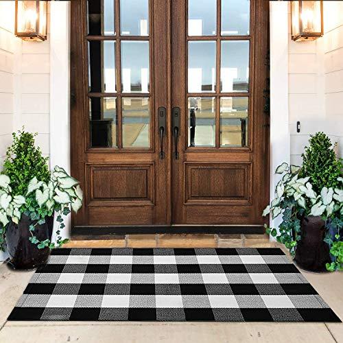 KaHouen Cotton Buffalo Check Rug 27.5 x 43 Inches, Buffalo Plaid Rug, Washable Hand-Woven Outdoor Checkered Rugs for Layered Door Mats/Kitchen/Farmhous (Outdoor Front Door Mat)