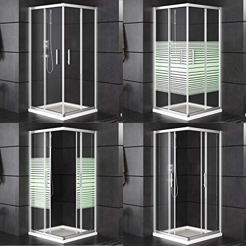 Oimex Duschkabine Duschwand Duschabtrennung Eckdusche mit Verstellbereich, Glas, Schiebetüren, ohne Tasse 80 x 80cm oder 90x90cm, Größe: 80 x 80 x 180cm, Farbe: Eckversion, mit Streifen
