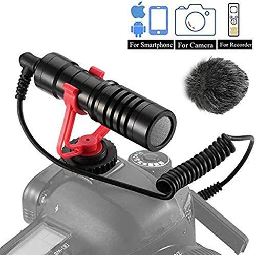 Dazzne VideoMicro Microfono Video Conferenza Streaming Compatto per fotocamere Sony/Canon/Nikon/Pentax DSLR Videocamere,Mac Tablet iPhone/Smartphone Android, Registrazione Youtube/Intervista