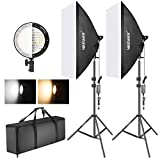 Neewer Photography Bi-color Dimmable LED Softbox Lighting Kit:20x27 inches Studio Softbox, 45W...
