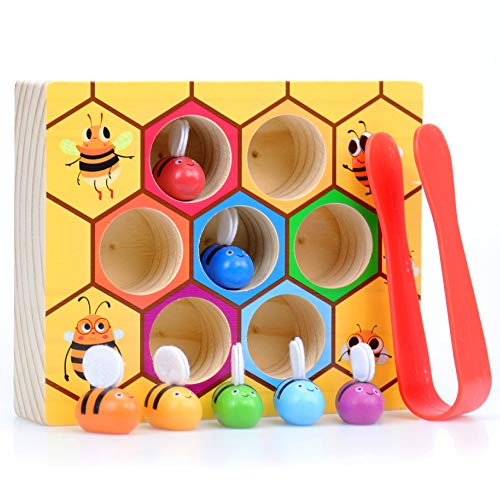 WOOD CITY Toddler Fine Motor Skills Toys,Bee to Hive...