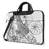 Pescado Carpa Japonesa Hojas de Loto Flor Impermeable portátil Mochila de Hombro Bolso maletín Mensajero con Correa 15,6″