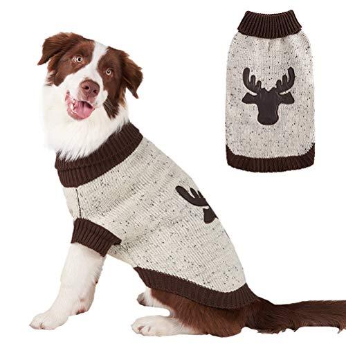 BINGPET Hundepullover, weihnachtliches Rentier, Strickware, für den Winter, Warmer Stoff