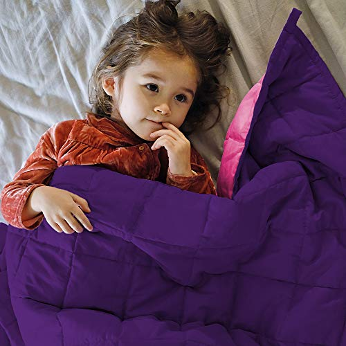 ZonLi Small Weighted Blanket 5 lbs(36''x48'', Pink/Purple), Cooling Weighted Blanket for Kids, 100% Cotton Material with Glass Beads