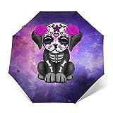 DOWNN Paraguas automático de triple pliegue con impresión exterior 3D linda galaxia cachorro perro impermeable protector solar resistente al viento plegable paraguas para hombre y mujer al aire libre