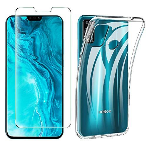 iBetter per Honor 9X Lite Cover + Pellicola Protettiva in Vetro Temperato [1 Pack] Soft Antiurto Silicone Custodia, per Honor 9X Lite Smartphone.Trasparente