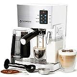 Espresso & Cappuccino Maker- 19 Bar Pump, 10 Pc All-In-One Espresso Maker & Milk Steamer (Inc: Bean Grinder, 2 Cappuccino & 2 Espresso Cups, Tamper, Single & Double Shot Filter Baskets), 1250W, (White)