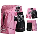 Muay Thai Boxing Kick Boxing Martial Arts Shorts Pink Black Shorts (XXS)
