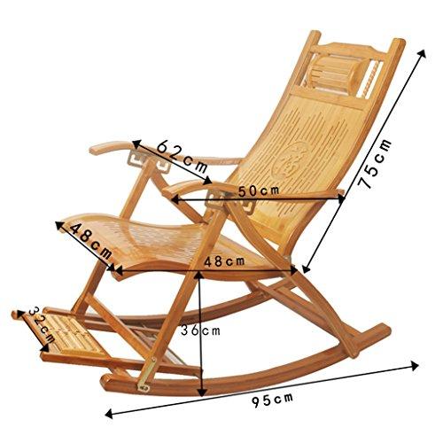 Bambus-Lounge-Stuhl Garten Erwachsener Schaukelstuhl Klappstuhl Verstellbarer Alter Balkon Mittagspause Stuhl Mit Armlehnen Und Massage-Fußhocker * (größe : with Cushion)