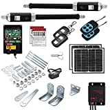 16 Ft. Dual Solar Powered Automatic Swing Gate Openers (US Based) 16 Feet or 1200+ Lbs. Combined gate Capacity ETL Listed IP56 Waterproof Dual (2 Remotes, 2-10W Panels) by Homeland Hardware