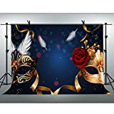 FLASIY Masquerade Theme Party Photography Backdrops 10x7ft Mask Rose Flower Photo Background for Event Birthday Studio Photo Video Shoot Props GEAY023