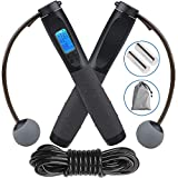 Jump Rope, Digital Weighted Handle Jumping Rope Workout with Calorie Counter, Adjustable Cable Length Skipping Ropes for Indoor and Outdoor Training Fitness, Cordless Jump Rope for Men, Women, Kids