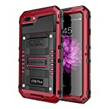 iPhone 7 Plus Waterproof Case, Seacosmo Full Body Protective Shell with Built-in Screen Protector Military Grade Rugged Heavy Duty Case Cover for iPhone 8 Plus/iPhone 7 Plus, Red