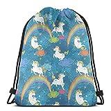 GeorgoaKunk Mochila con cordón Unicornio en Azul Bolsa de Hilo con Estampado 3D Mochila Cinch Bolsas de Mano Regalos para Mujeres Hombres Gimnasio Compras Deporte Yoga