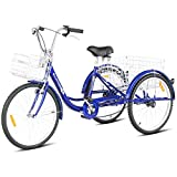 Goplus Adult Tricycle Trike Cruise Bike Three-Wheeled Bicycle with Large Size Basket for Recreation, Shopping, Exercise Men's Women's Bike (Navy, 26' Wheel)