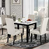 LZ LEISURE ZONE Dining Table Set Kitchen Dining Table Set for 4, Wood Table and Chairs Set (White/Beige)