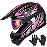 ILM Youth Kids ATV Motocross Helmet Goggles Sports Gloves Dirt Bike Motorcycle Off Road DOT Approved (Youth-XL, Pink Black)