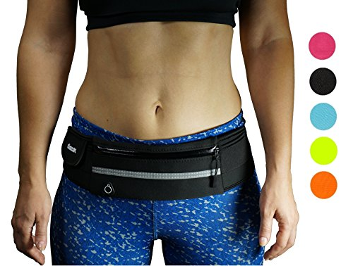 dimok Running Belt Waist Pack - Water Resistant Runners Belt Fanny Pack for Hiking Fitness  Adjustable Running Pouch for All Kinds of Phones iPhone Android Windows