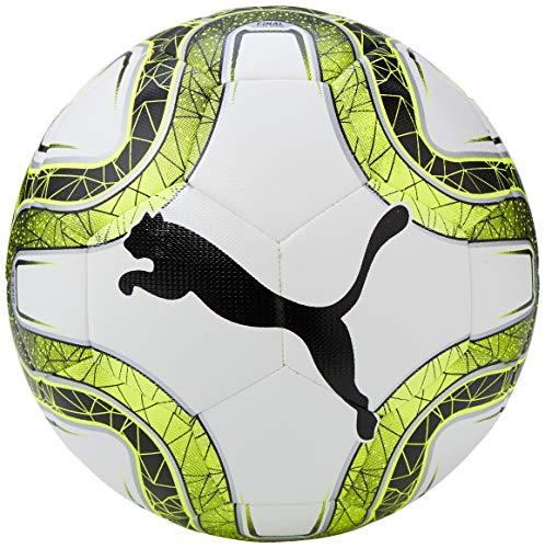 Puma Final Lite Voetbal   Trainingsbal voor jonge spelers   Gewicht: 290 gram   100% polyurethaan   Maat 5   Zwart/Wit/Geel