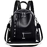 AMPISSINO señoras suave cuero genuino piel Claf mujeres mochila casual colegio mochila mochila mochila para niñas A3891, color Negro, talla Medium