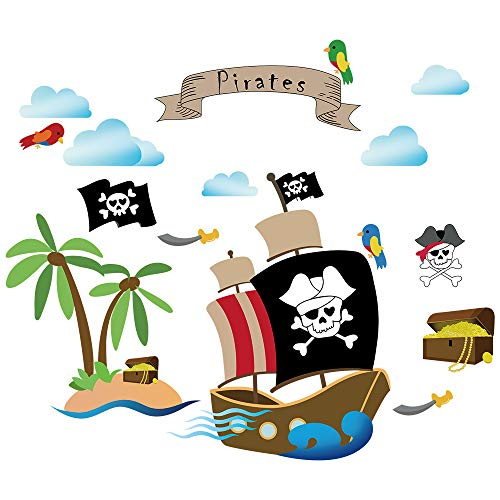 decalmile Pirate Ship Wall Decals Kids Room Wall Stickers Children Bedroom Baby Nursery Wall Decor Pirate Theme Room Decoration
