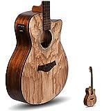 Kadence Acoustica Series,Electro Acoustic Guitar Ash/Zebra Wood with inbuilt tuner (Ash Wood)