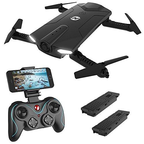 Holy Stone Drone Pieghevole FPV 720P HS160 Droni Tascabile con Telecamera HD Live Sistema di Stabilizzazione Quadricottero Remoto No GPS con Controllo Automatico Dell'altezza Nero, 2 Batterie