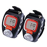 VECTORCOM RD08 Portable Digital Wrist Watch Walkie Talkie Two-Way Radio for Outdoor Sport Hiking, 462MHZ, Black, 2pcs, Black