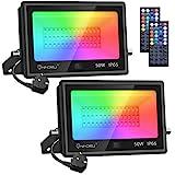 Onforu Lot de 2 Projecteur LED RGB 50W, Multicolore Projecteurs Éxtérieur IP66...