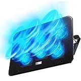 【2021年最新の 6つ冷却ファン 5段階調整 強冷 超静音】ノートパソコン 冷却パッド 冷却台 ノートPCクーラー クール 超静音 USBポート2口 USB接続 風量調節可 高度調節可 7-17インチ ノートpc/iPad/Macbook/Macbook Pro 等に対応