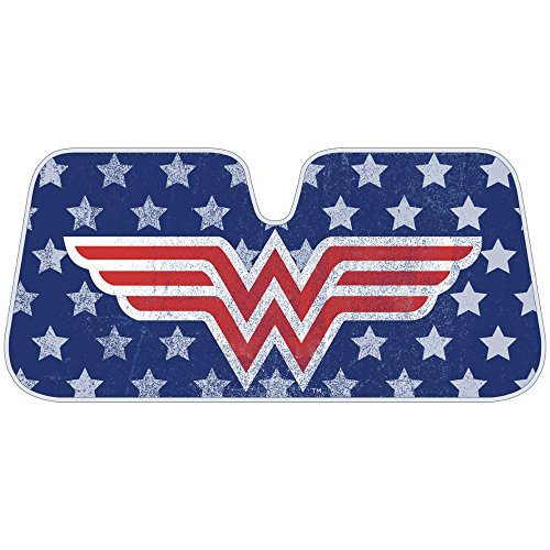 Wonder Woman Red Logo DC Comics Official Licensed Front Windshield Sun Shade-Accordion Folding Auto Sunshade for Car Truck SUV-Blocks UV Rays Sun Visor Protector-Keep Your Vehicle Cool- 58 x 27 Inch