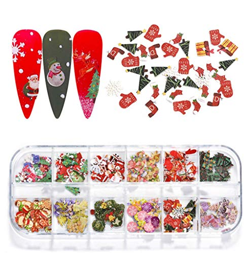 Christmas Nail Art Stickers Decals Nail Art Supplies Christmas Santa Elk Flash Snow Deer Wood Pulp 3d Nail Art Decorations Accessories 12 Designs Christmas Nail Sequins for Acrylic Nails