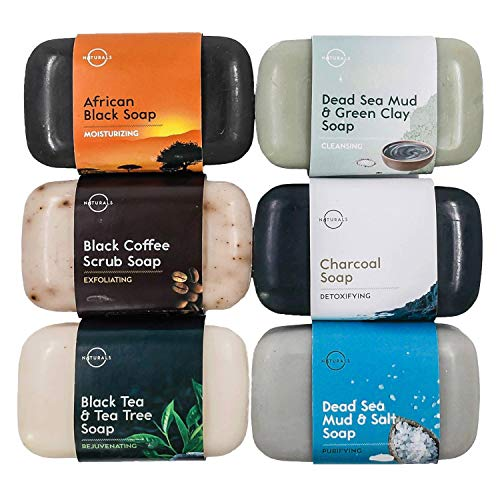 O Naturals 6-Piece Black Bar Soap Collection. 100% Natural. Organic Ingredients. Helps Treat Acne, Repairs Skin, Moisturizes, Deep Cleanse, Luxurious. Face & Body Women & Men. Triple Milled, Vegan 4oz