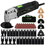 Oscillating Tool, GALAX PRO 2.4Amp 6 Variable Speed Oscillating Multi-Tool Kit with Quick-Lock accessory change, Oscillating Angle:4°, 40pcs Accessories and Carry Bag